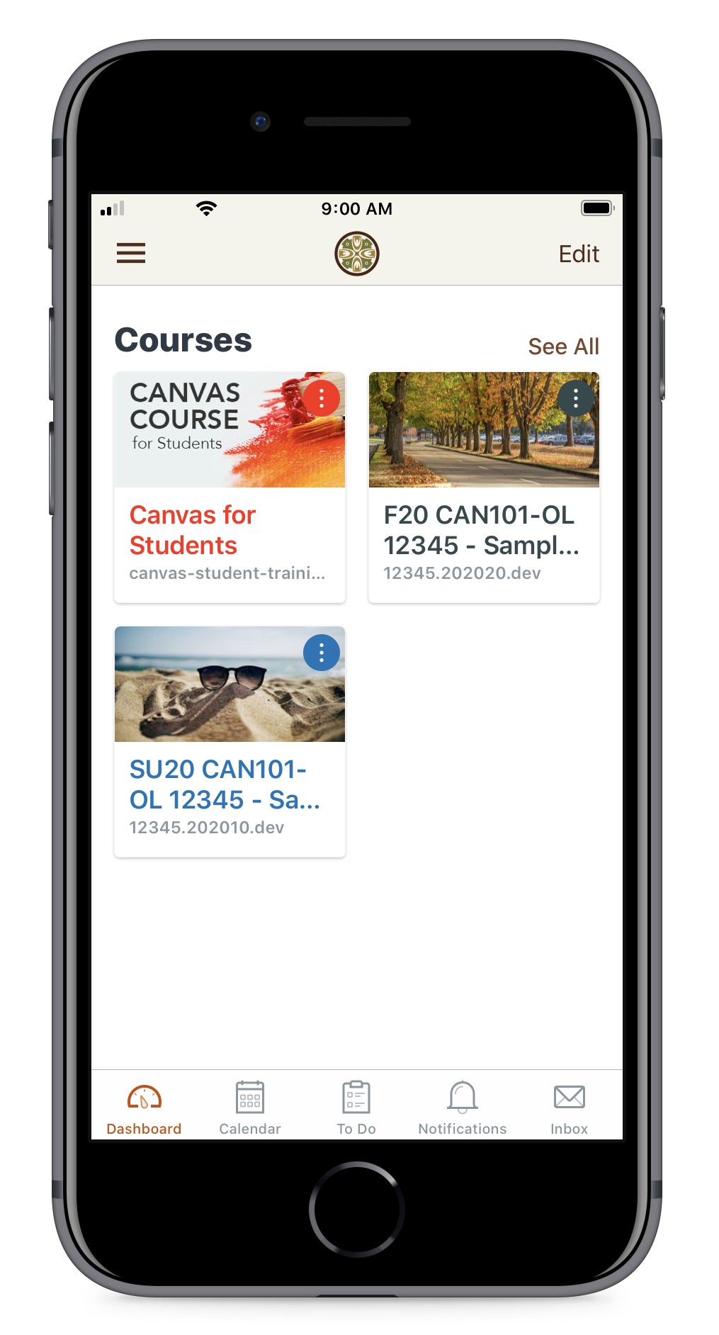 Canvas student app displayed on an iPhone
