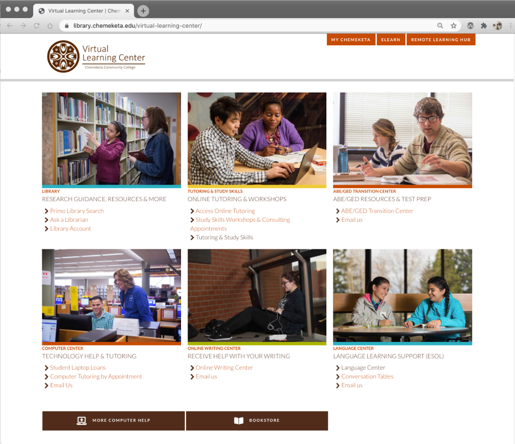 A screenshot of the Chemeketa Learning Center website
