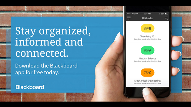 Stay organized, informed and connected. Download the Blackboard Mobile App today.